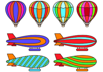 Set Of Hot Air Balloon Vectors - vector gratuit #437957