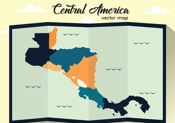 Folded Central America Vector Map - Kostenloses vector #437967
