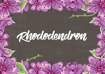 Rhododendron Flowers Frame Vector Illustration - vector gratuit #437977
