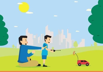 Free Young Boy Playing RC Car with Remote Control On Hand Illustration - vector gratuit #438137