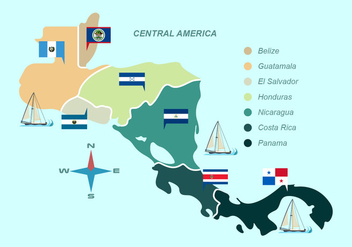 Central America Map With Flag Vector Illustration - Free vector #438147