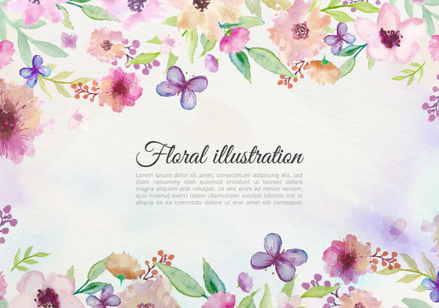 Free Vector Watercolor Background With Painted Flowers And Butterfly - Kostenloses vector #438297