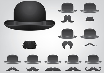 Hat And Mustache Icons - vector #438397 gratis