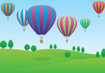 Hot Air Balloons Flying Over the Field - vector gratuit #438407