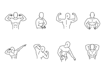 Bodybuilding Pose Icon set - vector gratuit #438427