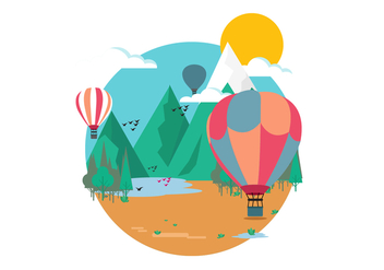 Mountain Hot Air Balloon Vector Illustration - бесплатный vector #438497