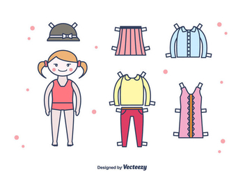 Paper Doll Vector Set - Free vector #438527