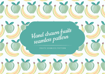 Vector Hand Drawn Banana and Apple Seamless Pattern - Kostenloses vector #438547
