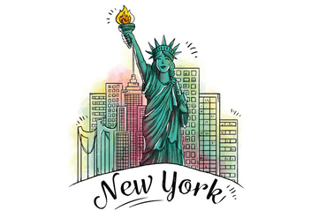 Character Design Statue Of Liberty With Building Behind Icon of New York City - Free vector #438567