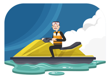 Man On A Jet Ski Vector Illustration - Free vector #438597