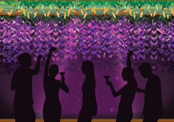 Party People with a Floral Wisteria Background Vector - Kostenloses vector #438607
