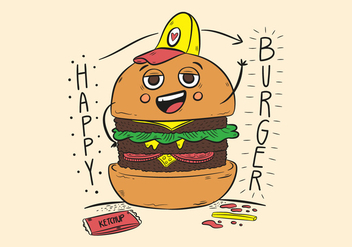 Funny Character Burger With Hat And Ketchup - vector gratuit #438617