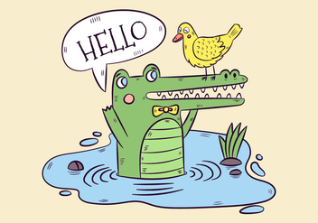 Cute Green Alligator And Yellow Duck With Speech Bubble - vector #438627 gratis