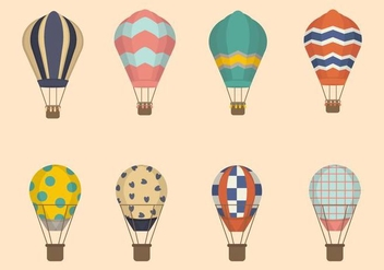 Flat Hot Air Balloon Vectors - Free vector #438677