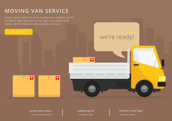 Moving Van or Truck. Transport or Delivery Illustration. - vector gratuit #438707