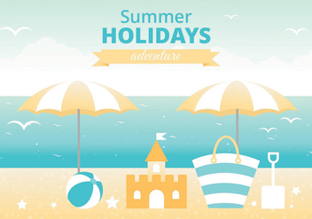 Free Summer Landscape Vector Greeting Card - vector gratuit #438757
