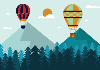 Hot Air Balloon Vector Illustration - Free vector #438767