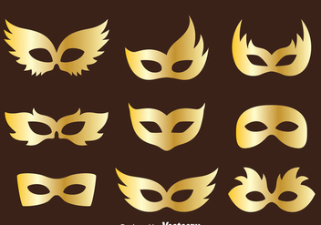 Golden Masquerade Mask Collection Vector - vector gratuit #439317