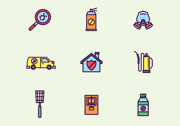 Colorful Outlined Pest Control Icons - vector #439337 gratis