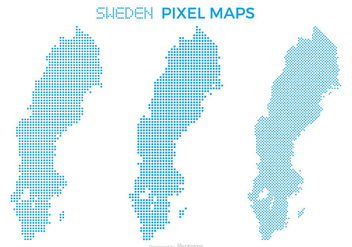 Pixel Sweden Map Vector Set - Free vector #439387