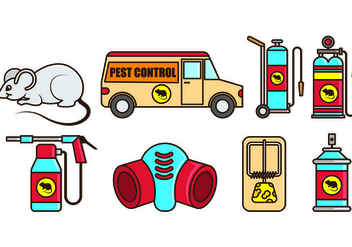 Set Of Pest Control and Mouse Trap Icons - Free vector #439397