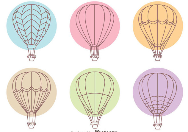 Hot Air Balloon Line Collection Vectors - Free vector #439417