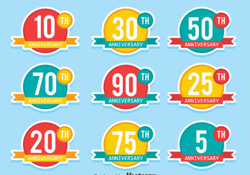 Flat Colored Anniversary Badge Collection Vectors - бесплатный vector #439427