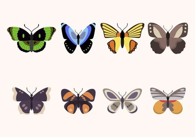Flat Butterfly Vectors - Free vector #439437