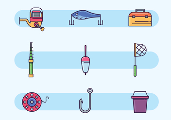 Colorful Fishing Equipment - бесплатный vector #439457