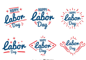 Hand Drawn Labor Day Badge Vectors - Free vector #439567