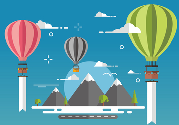 Hot Air Balloon Vector Design Background - Free vector #439607