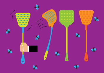 Colorful Fly Swatter and Flies Vectors - бесплатный vector #439647