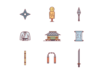 Martial Arts Filled Outline Icons - Free vector #439777