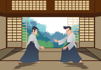 Man Practicing Aikido In The Dojo - Free vector #439787
