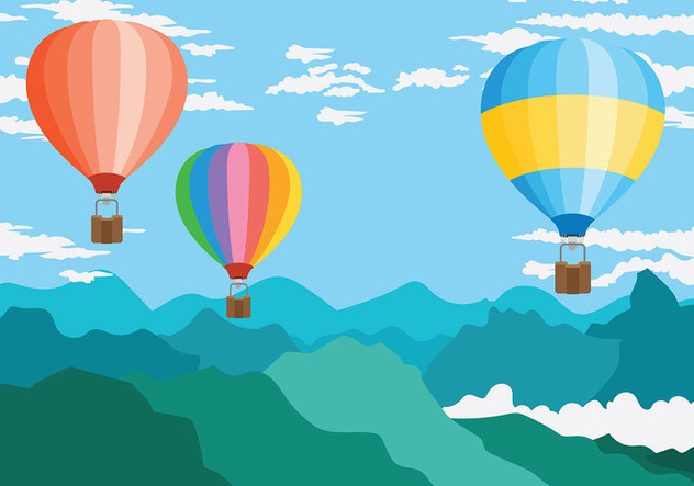 Hot Air Balloon Vector Background - Free vector #439837