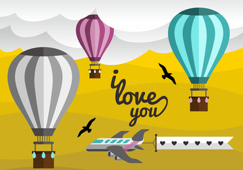 Hot Air Balloon Love Note Vector Design - vector gratuit #439847