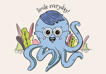 Cute Blue Octopus Character Wearing Glasses And Saying Smile - Free vector #439867