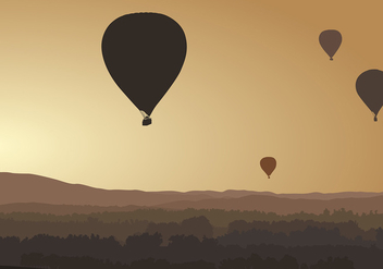 Hot Air Balloon Silhouette Free Vector - бесплатный vector #439907