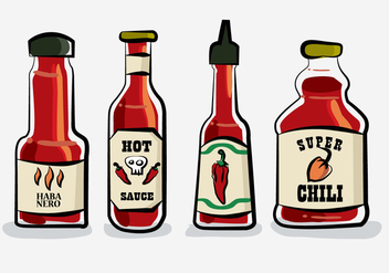 Hot Chili Sauce Bottle Habanero Vector Illustration - Free vector #439927