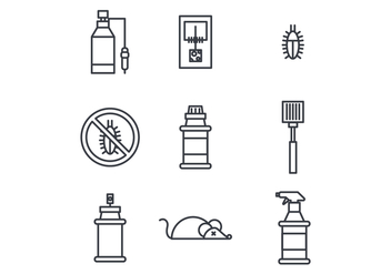 Outlined Icons About Insecticide - vector #440087 gratis