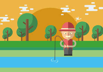 Fishing On The River Banks Vector - Free vector #440197