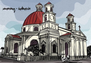 Colonial Vintage Vector Illustration of Semarang Indonesia - Kostenloses vector #440287
