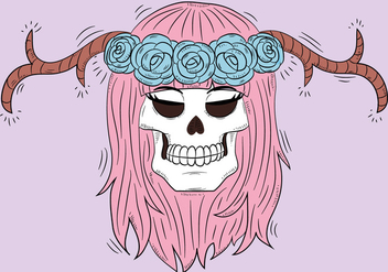 Cute Skull With Horns And Pink Hair - Free vector #440317