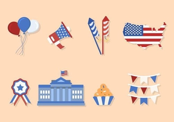 Flat USA Independence Day Vectors - Kostenloses vector #440337