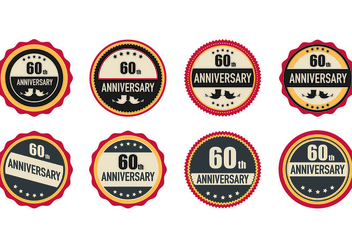 Set Of 60th Badges - бесплатный vector #440347