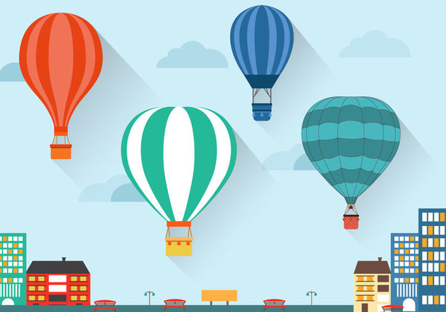 Flat Air Balloon Vector - Kostenloses vector #440397