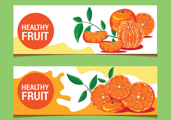 Clementine Fruits on Banner Background - vector gratuit #440427
