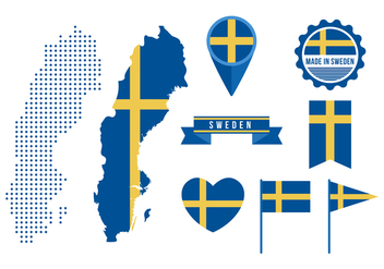 Free Sweden Map and Graphic Elements - Kostenloses vector #440437