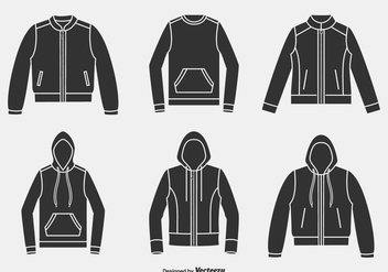 Silhouette Jackets, Hoodies And Sweaters Vector Icons - Free vector #440477