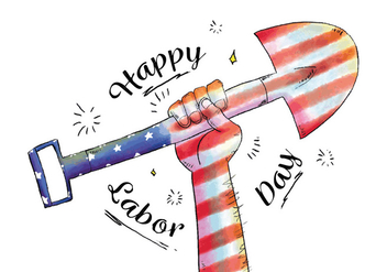Proud Watercolor Hand Holding Shovel With American Flag for Labor Day Vector - бесплатный vector #440487